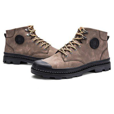 Male Leisure Soft Anti Slip High Top Leather Martin Boots