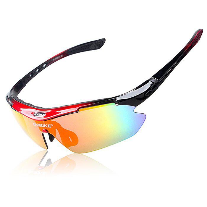 RED WITH BLACK INBIKE IG619 Protective Polarized Lens Cycling Glasses