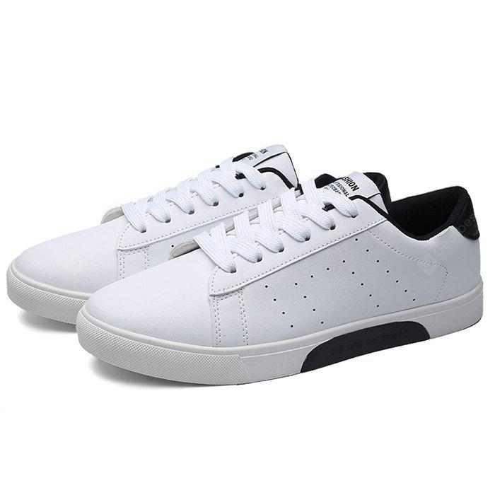 BLACK WHITE Male Casual Breathable Anti Slip Flat Leather Sneakers
