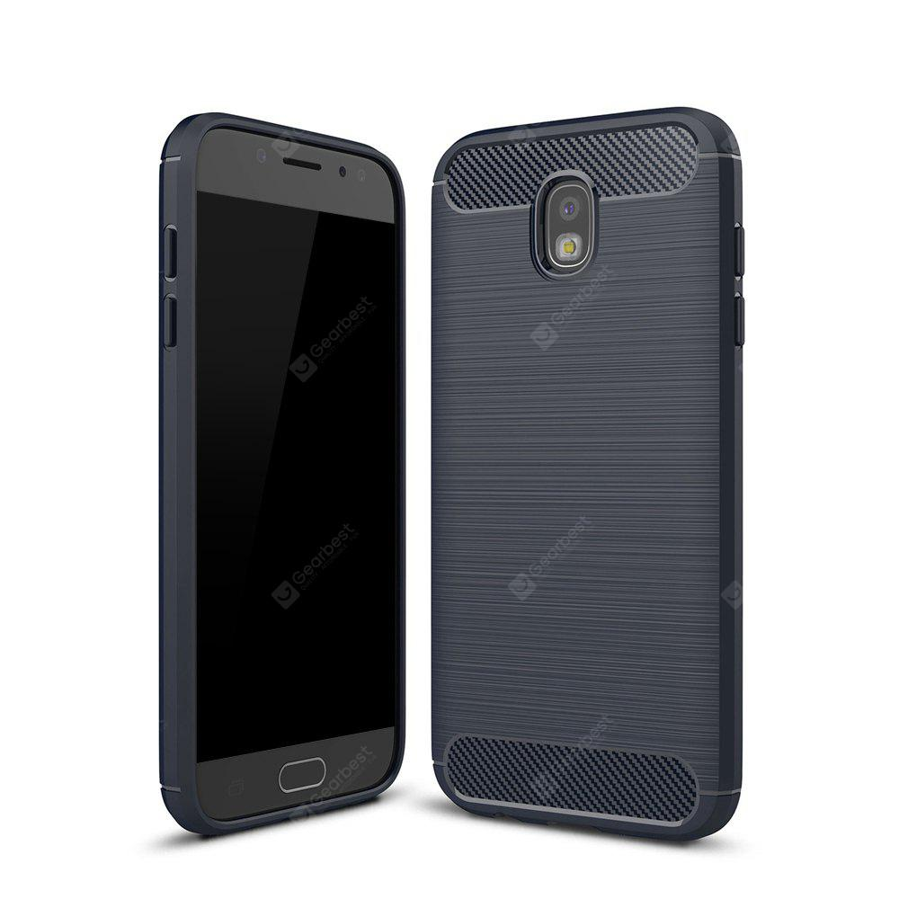 Wkae Case Solid Color Carbon Fiber Texture TPU Soft Protective Case for Samsung  Galaxy J730 2017