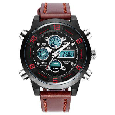 6.11 8147 Dual Movt Multifunctional Sports Male WatchMens Watches<br>6.11 8147 Dual Movt Multifunctional Sports Male Watch<br><br>Band material: Leather<br>Band size: 24 x 2cm<br>Brand: 6.11<br>Case material: Alloy<br>Clasp type: Pin buckle<br>Dial size: 4.2 x 4.2 x 1.4cm<br>Display type: Analog-Digital<br>Movement type: Quartz + digital watch<br>Package Contents: 1 x Watch<br>Package size (L x W x H): 26.00 x 6.00 x 3.20 cm / 10.24 x 2.36 x 1.26 inches<br>Package weight: 0.1900 kg<br>Product size (L x W x H): 24.00 x 4.00 x 1.20 cm / 9.45 x 1.57 x 0.47 inches<br>Product weight: 0.1500 kg<br>Shape of the dial: Round<br>Watch mirror: Acrylic<br>Watch style: Fashion<br>Watches categories: Men