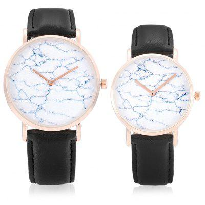 CAGARNY Marble Dial Face Couple Watches with Leather Band