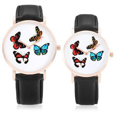 CAGARNY Retro Butterfly Dial Face Couple Watches with Leather Band