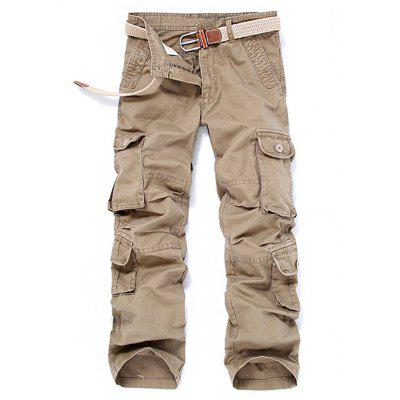 Buy KHAKI Outdoor Leisure Pockets Loose Cargo Pants for Men for $35.48 in GearBest store