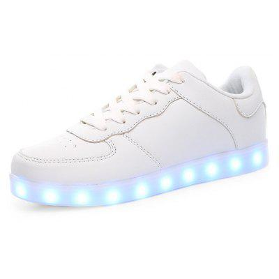 Masculino Casual LED Light Up Split Joint Leather Shoes