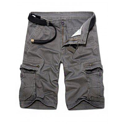 Buy GRAY 40 Straight Pockets Zipper Fly Shorts for Men for $28.89 in GearBest store