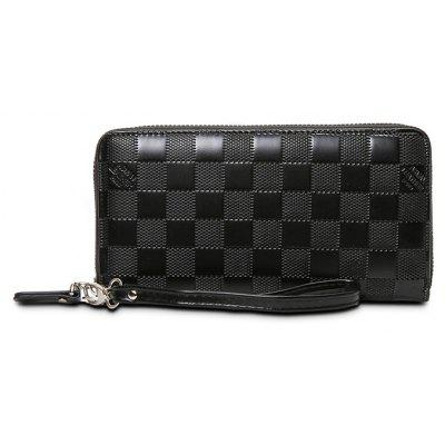 Buy BLACK Men Leisure Zipper Around Plaid Long Wallet for $12.74 in GearBest store