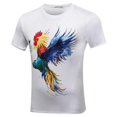Buy WHITE Stylish Rooster Printed Theme Shirt for $14.09 in GearBest store
