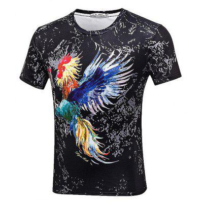 Buy BLACK Stylish Rooster Printed Theme Shirt for $14.09 in GearBest store
