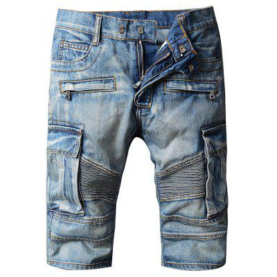 Men Straight Leg Zipper Fly Jeans Shorts