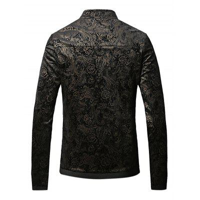 New Style Gold Printed Decoration Male JacketMens Jackets &amp; Coats<br>New Style Gold Printed Decoration Male Jacket<br><br>Closure Type: Zipper<br>Clothes Type: Jackets<br>Collar: Stand Collar<br>Embellishment: Others<br>Materials: Cotton, Nylon<br>Package Content: 1 x Jacket<br>Package Dimension: 40.00 x 30.00 x 4.00 cm / 15.75 x 11.81 x 1.57 inches<br>Package weight: 0.4600 kg<br>Pattern Type: Print<br>Product weight: 0.4000 kg<br>Seasons: Autumn<br>Shirt Length: Regular<br>Sleeve Length: Long Sleeves<br>Style: Fashion, Classic, Formal, Office<br>Thickness: Medium thickness<br>Type: Slim