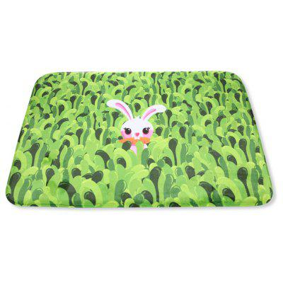 Cute Rabbit Grasses Printed Rectangle Flannel Doormat