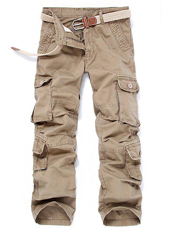KHAKI Outdoor Leisure Pockets Loose Cargo Pants for Men