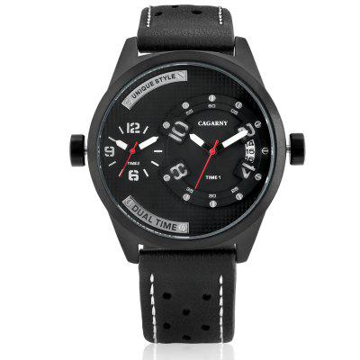 CAGARNY 6873 Leather Band Quartz Men WatchMens Watches<br>CAGARNY 6873 Leather Band Quartz Men Watch<br><br>Band material: Leather<br>Band size: 21.9 x 1.6 cm<br>Brand: Cagarny<br>Case material: Alloy<br>Clasp type: Pin buckle<br>Dial size: 4.9 x 4.9 x 1.4 cm<br>Display type: Analog<br>Movement type: Double-movtz<br>Package Contents: 1 x Watch, 1 x Box<br>Package size (L x W x H): 37.80 x 12.90 x 8.90 cm / 14.88 x 5.08 x 3.5 inches<br>Package weight: 0.1700 kg<br>Product size (L x W x H): 26.80 x 4.90 x 1.40 cm / 10.55 x 1.93 x 0.55 inches<br>Product weight: 0.0790 kg<br>Shape of the dial: Round<br>Watch style: Fashion, Business, Cool<br>Watches categories: Men<br>Water resistance : Life water resistant<br>Wearable length: 20.4 - 24.6 cm
