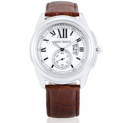 SANCYBIRDS FY9810 Quartz Men WristwatchMens Watches<br>SANCYBIRDS FY9810 Quartz Men Wristwatch<br><br>Band material: Genuine Leather<br>Band size: 21 x 2.3cm<br>Case material: Zinc Alloy<br>Clasp type: Pin buckle<br>Dial size: 4.6 x 4.6 x 1.1cm<br>Display type: Analog<br>Movement type: Quartz watch<br>Package Contents: 1 x Wristwatch, 1 x Box<br>Package size (L x W x H): 9.00 x 9.00 x 6.00 cm / 3.54 x 3.54 x 2.36 inches<br>Package weight: 0.1400 kg<br>Product size (L x W x H): 21.00 x 4.60 x 1.10 cm / 8.27 x 1.81 x 0.43 inches<br>Product weight: 0.0840 kg<br>Shape of the dial: Round<br>Watch style: Casual, Business<br>Watches categories: Men<br>Water resistance : 30 meters<br>Wearable length: 19 - 23cm