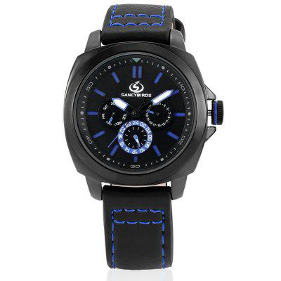SANCYBIRDS FY9829 Quartz Men WristwatchMens Watches<br>SANCYBIRDS FY9829 Quartz Men Wristwatch<br><br>Band material: Genuine Leather<br>Band size: 26 x 2.1cm<br>Case material: Zinc Alloy<br>Clasp type: Pin buckle<br>Dial size: 4.5 x 4.5 x 1.3cm<br>Display type: Analog<br>Movement type: Quartz watch<br>Package Contents: 1 x Wristwatch, 1 x Box<br>Package size (L x W x H): 9.00 x 9.00 x 6.00 cm / 3.54 x 3.54 x 2.36 inches<br>Package weight: 0.1200 kg<br>Product size (L x W x H): 26.00 x 4.50 x 1.30 cm / 10.24 x 1.77 x 0.51 inches<br>Product weight: 0.0880 kg<br>Shape of the dial: Round<br>Watch style: Business<br>Watches categories: Men<br>Water resistance : 30 meters<br>Wearable length: 19 - 24cm