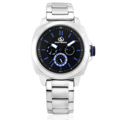 SANCYBIRDS FY9828 Quartz Men WristwatchMens Watches<br>SANCYBIRDS FY9828 Quartz Men Wristwatch<br><br>Band material: Steel<br>Band size: 18.5 x 2.1cm<br>Brand: SANCYBIRDS<br>Case material: Zinc Alloy<br>Clasp type: Folding clasp with safety<br>Dial size: 4.5 x 4.5 x 1.3cm<br>Display type: Analog<br>Movement type: Quartz watch<br>Package Contents: 1 x Wristwatch, 1 x Box<br>Package size (L x W x H): 9.00 x 9.00 x 6.00 cm / 3.54 x 3.54 x 2.36 inches<br>Package weight: 0.1900 kg<br>Product size (L x W x H): 23.00 x 4.50 x 1.30 cm / 9.06 x 1.77 x 0.51 inches<br>Product weight: 0.1590 kg<br>Shape of the dial: Round<br>Watch style: Business<br>Watches categories: Men<br>Water resistance : 30 meters