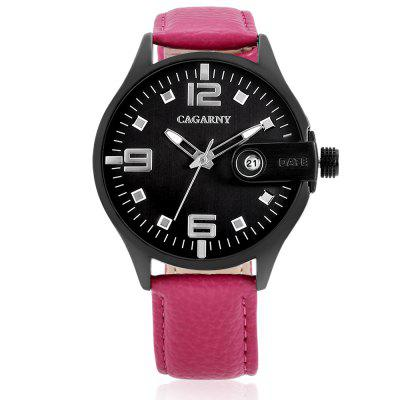 CAGARNY 6873 Date Display Quartz Women WatchWomens Watches<br>CAGARNY 6873 Date Display Quartz Women Watch<br><br>Band material: Genuine Leather<br>Band size: 20.4 x 1.8 cm<br>Brand: Cagarny<br>Case material: Alloy<br>Clasp type: Pin buckle<br>Dial size: 4.2 x 4.2 x 1.1 cm<br>Display type: Analog<br>Movement type: Quartz watch<br>Package Contents: 1 x Watch, 1 x Box<br>Package size (L x W x H): 35.60 x 12.20 x 8.60 cm / 14.02 x 4.8 x 3.39 inches<br>Package weight: 0.1500 kg<br>Product size (L x W x H): 24.60 x 4.20 x 1.10 cm / 9.69 x 1.65 x 0.43 inches<br>Product weight: 0.0520 kg<br>Shape of the dial: Round<br>Watch style: Casual, Fashion<br>Watches categories: Women<br>Water resistance : Life water resistant<br>Wearable length: 18.2 - 22.3 cm