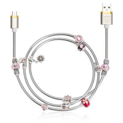 Angibabe Jewelry Style Micro USB Data Sync Cable Pink Beads
