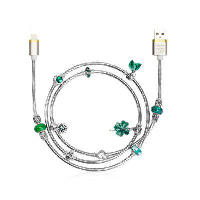 Angibabe Jóias Estilo 8 Pin USB Data Sync Cable Green Beads
