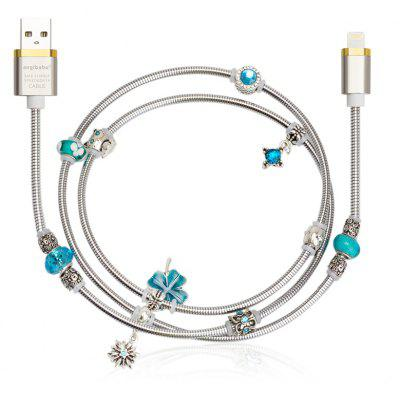 Angibabe Jewelry Style 8 Pin USB Data Sync Cable Blue Beads