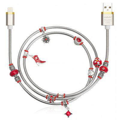 Angibabe Jóias Estilo 8 Pin USB Data Sync Cable Red Beads