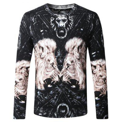 Novelty Print Knitted Male Sweater