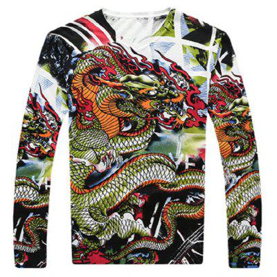 Chinese Style Dragon Print Male Sweater