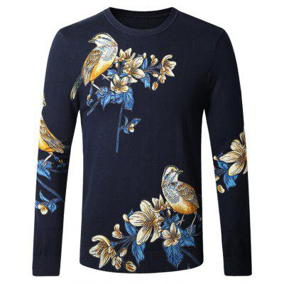 Casual Bird Flower Print Male Sweater