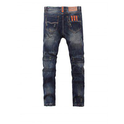 Male Fashionable Retro Straight Frayed JeansMens Pants<br>Male Fashionable Retro Straight Frayed Jeans<br><br>Material: Cotton, Polyester<br>Package Contents: 1 x Pair of Jeans<br>Package size: 35.00 x 25.00 x 3.00 cm / 13.78 x 9.84 x 1.18 inches<br>Package weight: 0.8400 kg<br>Product weight: 0.7800 kg