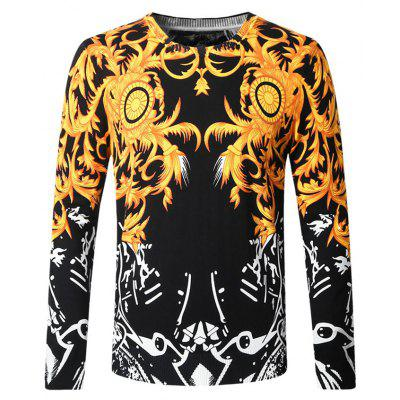 Casual Flower Vine Print Male Sweater