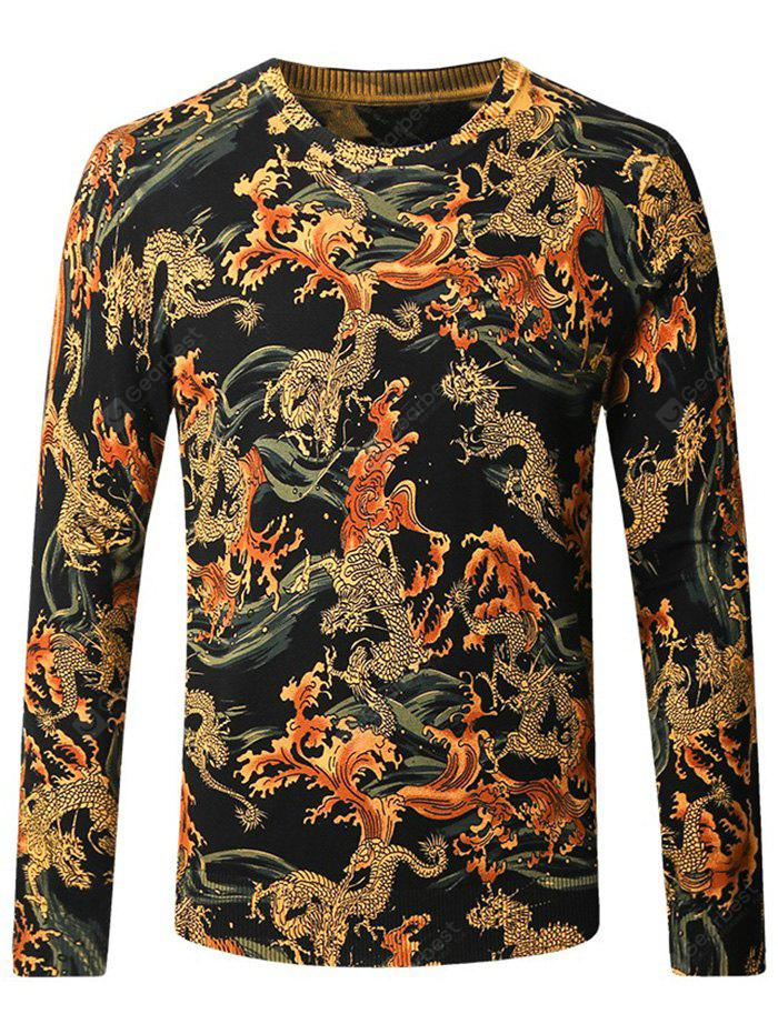 Chinese Style Print Knitted Male Sweater