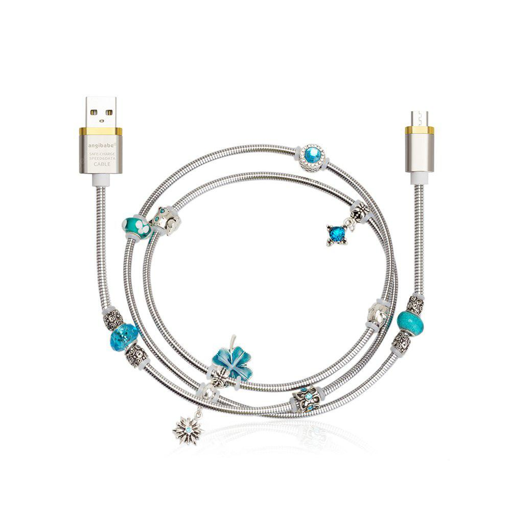 Angibabe Jewelry Style Micro USB Data Sync Cable Blue Beads