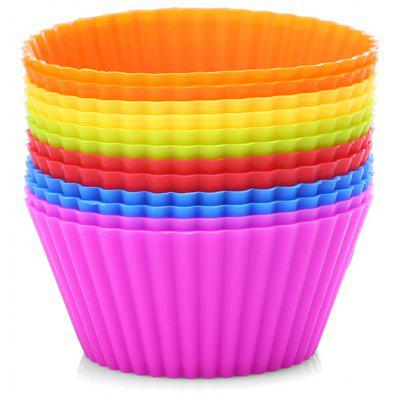 12PCS Silicone Mini Round Reusable Cupcake Muffin Baking Cup