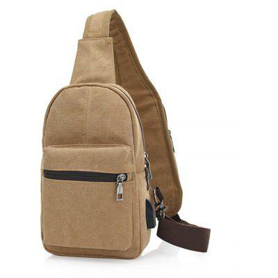 Buy KHAKI Men Leisure Simple Canvas Chest Bag with USB Port for $17.44 in GearBest store