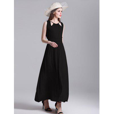 Female Graceful Beach Sleeveless Pleated Long DressMaxi Dresses<br>Female Graceful Beach Sleeveless Pleated Long Dress<br><br>Dresses Length: Maxi<br>Material: Cotton, Polyester<br>Neckline: Notched<br>Occasion: Beach and Summer, Club, Night Out, Party, Wedding<br>Package Contents: 1 x Long Dress<br>Package size: 41.00 x 36.00 x 1.00 cm / 16.14 x 14.17 x 0.39 inches<br>Package weight: 0.3800 kg<br>Pattern Type: Solid Color<br>Placement Print: No<br>Product weight: 0.3500 kg<br>Season: Summer<br>Silhouette: Beach<br>Sleeve Length: Sleeveless<br>Style: Elegant<br>Waist: Natural<br>With Belt: No