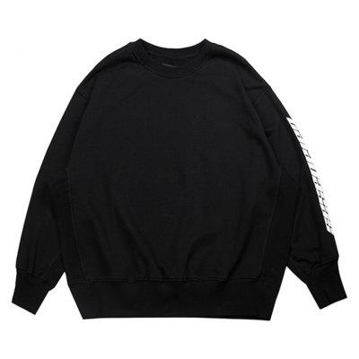 Male Simple Casual Letter Printing Round Neck Sweatshirt
