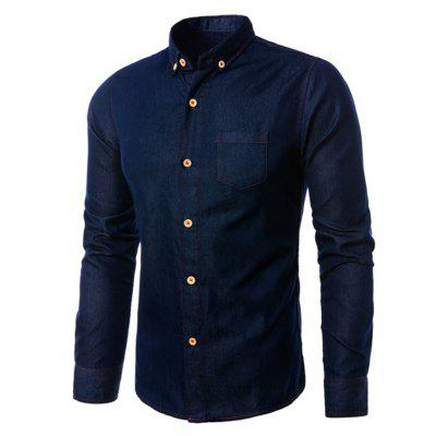 Slim Fit Turn-down Collar Denim Jacket for Men