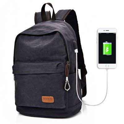 Canvas 20L Leisure Backpack 14 inch Laptop Bag with USB Port