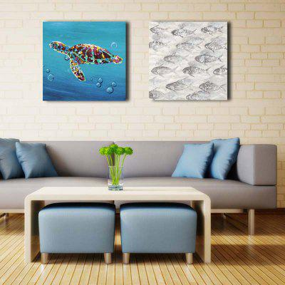 2PCS Abstract Tortoise Fish Home Decor Canvas Oil PaintingOil Paintings<br>2PCS Abstract Tortoise Fish Home Decor Canvas Oil Painting<br><br>Craft: Oil Painting<br>Form: Two Panels<br>Material: Canvas<br>Package Contents: 2 x Painting<br>Package size (L x W x H): 62.50 x 8.00 x 62.50 cm / 24.61 x 3.15 x 24.61 inches<br>Package weight: 2.4000 kg<br>Painting: Include Inner Frame<br>Product size (L x W x H): 60.00 x 3.00 x 60.00 cm / 23.62 x 1.18 x 23.62 inches<br>Product weight: 1.6000 kg<br>Shape: Square<br>Style: Abstract<br>Subjects: Animal<br>Suitable Space: Bedroom,Dining Room,Hotel,Living Room