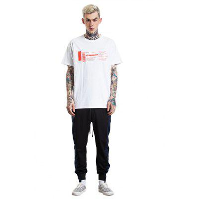 Masculino Trendy Casual Letters Printed Cotton T-Shirt