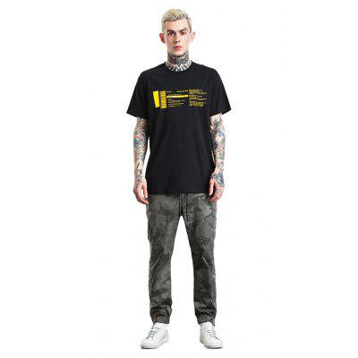Maschile Trendy Casual Letters T-shirt stampata in cotone