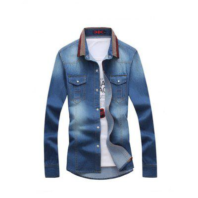 Fashion Long Sleeves Jeans Shirt for Men