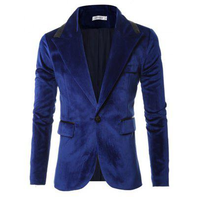Male Elegant Velvet Bright One Button Suit