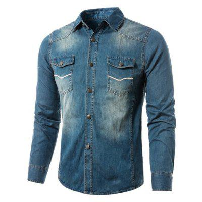 Casual Long Sleeve Male Denim Jacket