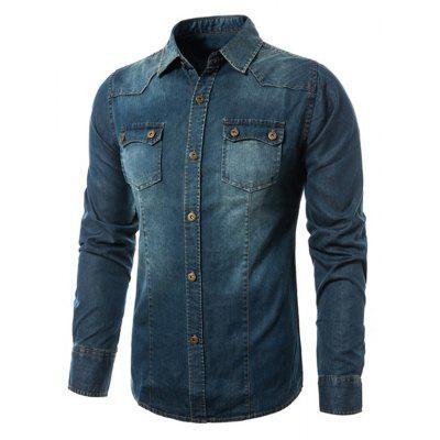 Male Slim Fit Turn-down Collar Denim Jacket