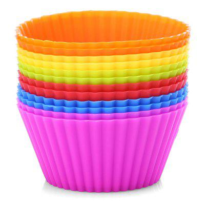 12PCS Silicone Egg Tart Mold Muffin Cup