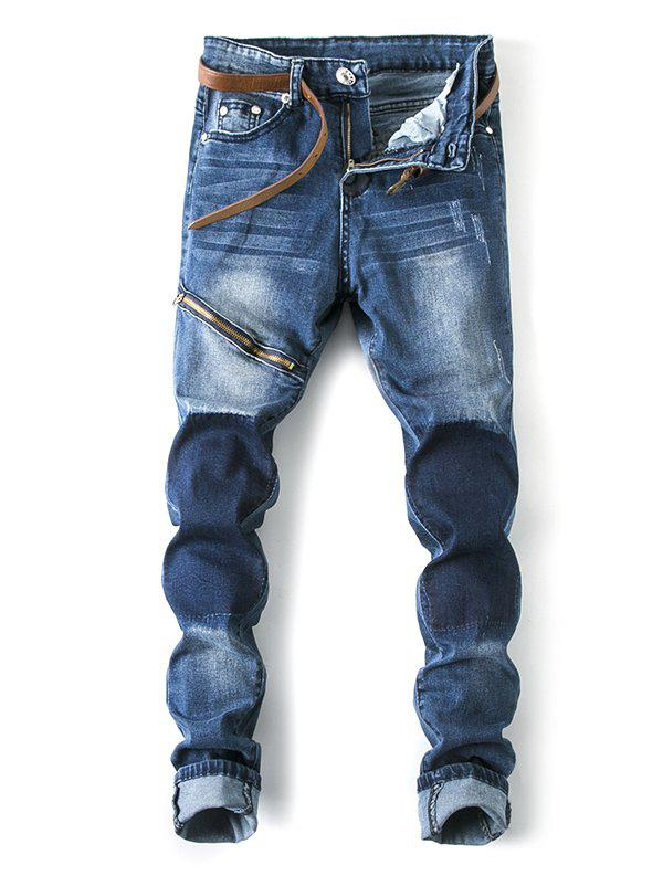 Male High Elastic Tight Motorcycle Jeans
