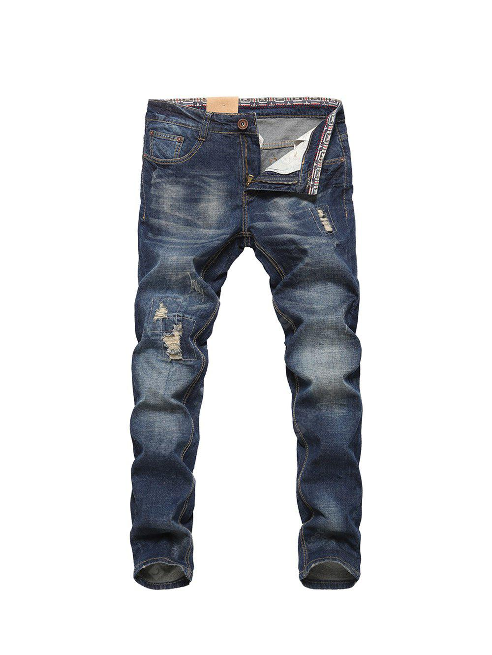Male Fashionable Straight Zipper Fly Cotton Jeans