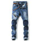 Male High Elastic Tight Motorcycle Jeans - BLUE